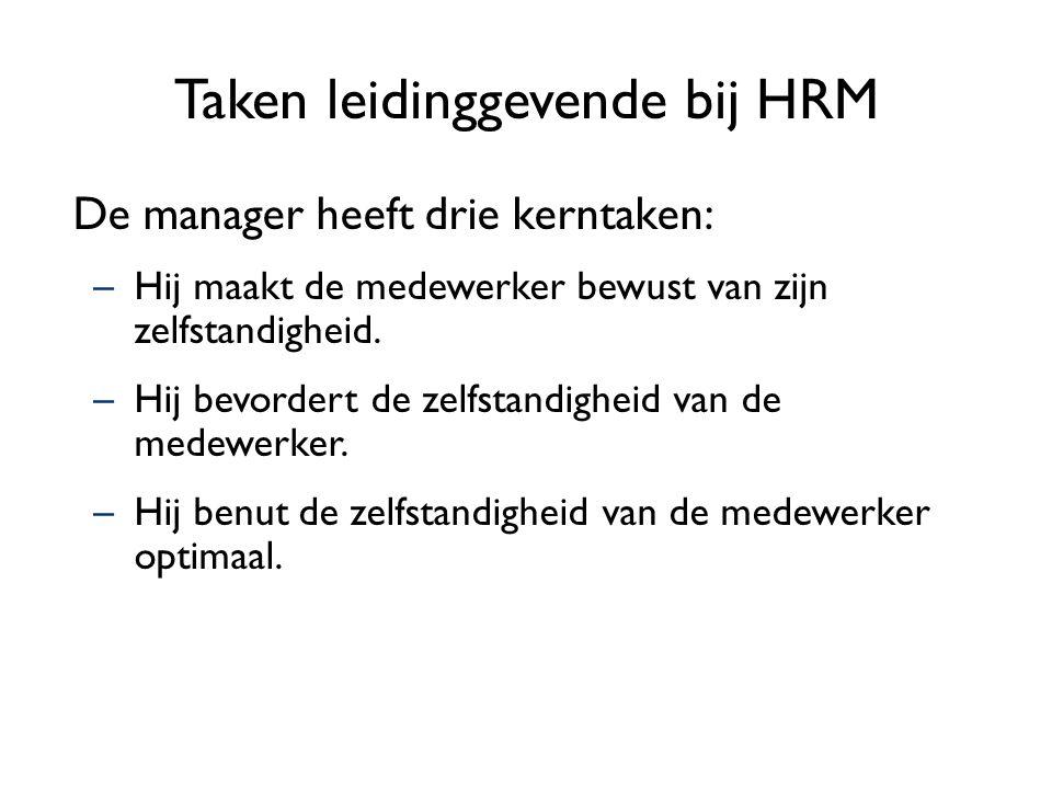 Taken leidinggevende bij HRM De manager heeft drie kerntaken: –Hij maakt de medewerker bewust van zijn zelfstandigheid. –Hij bevordert de zelfstandigh