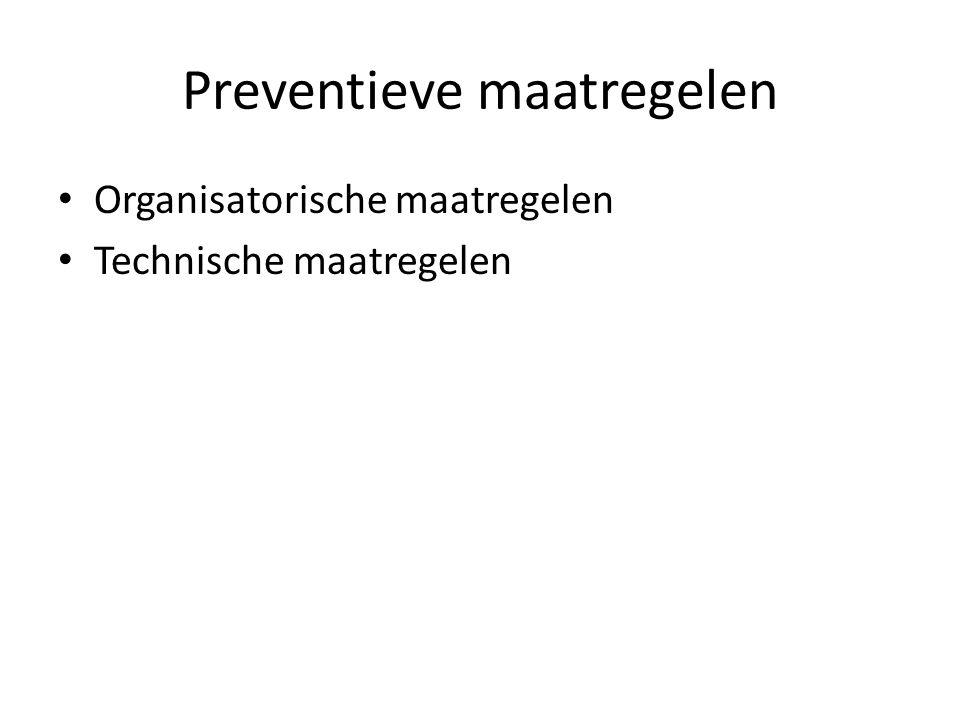 Preventieve maatregelen Organisatorische maatregelen Technische maatregelen