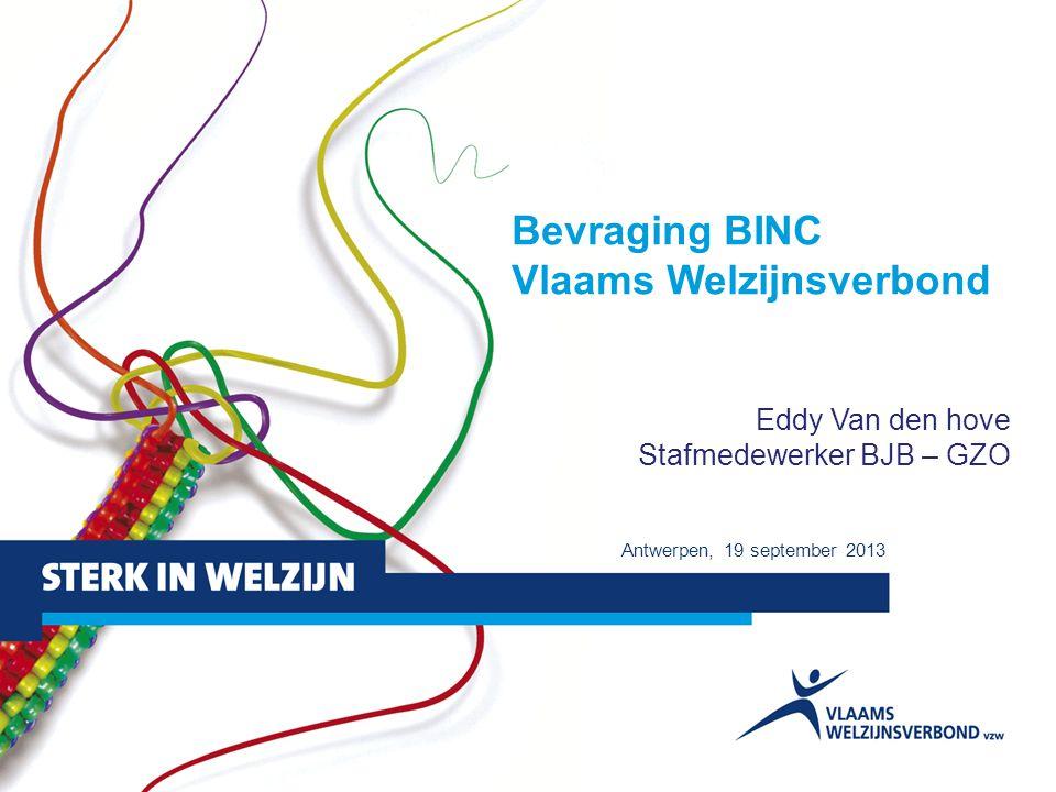 1 Bevraging BINC Vlaams Welzijnsverbond Eddy Van den hove Stafmedewerker BJB – GZO Antwerpen, 19 september 2013