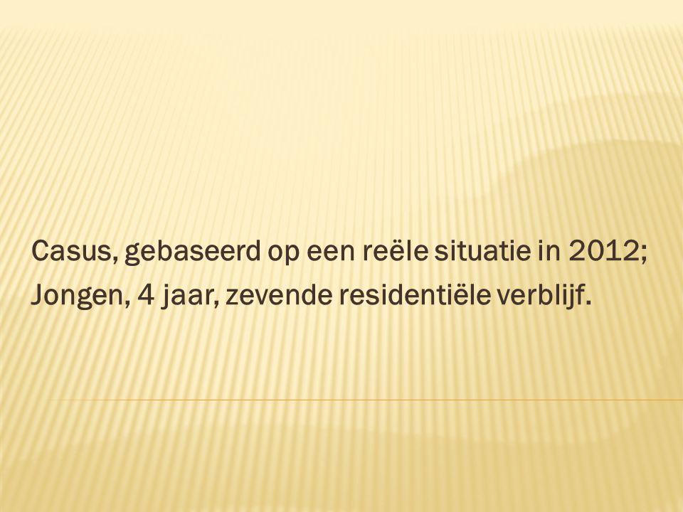 Casus, gebaseerd op een reële situatie in 2012; Jongen, 4 jaar, zevende residentiële verblijf.