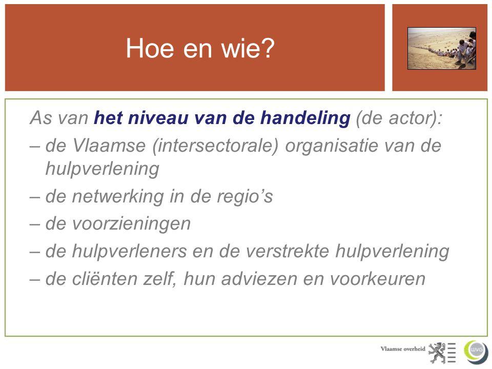 Hoe en wie? As van het niveau van de handeling (de actor): –de Vlaamse (intersectorale) organisatie van de hulpverlening –de netwerking in de regio's