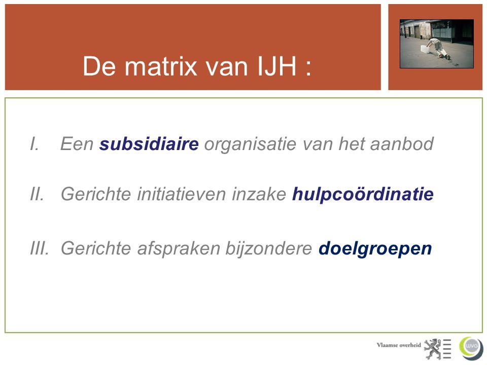 De matrix van IJH : I.Een subsidiaire organisatie van het aanbod II.Gerichte initiatieven inzake hulpcoördinatie III.Gerichte afspraken bijzondere doe