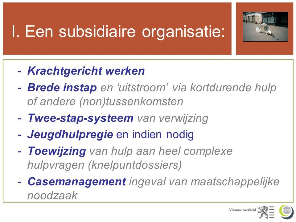 I. Een subsidiaire organisatie: -Krachtgericht werken -Brede instap en 'uitstroom' via kortdurende hulp of andere (non)tussenkomsten -Twee-stap-systee