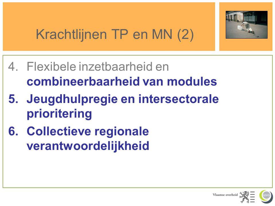 Krachtlijnen TP en MN (2) 4.Flexibele inzetbaarheid en combineerbaarheid van modules 5.Jeugdhulpregie en intersectorale prioritering 6.Collectieve reg
