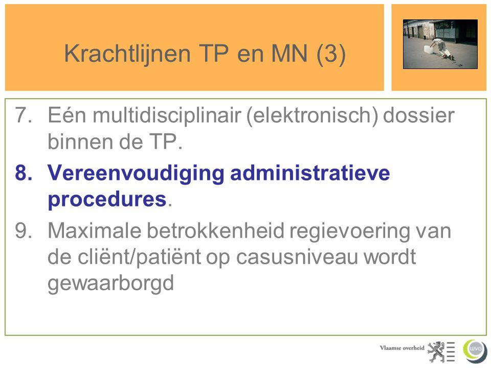 Krachtlijnen TP en MN (3) 7.Eén multidisciplinair (elektronisch) dossier binnen de TP. 8.Vereenvoudiging administratieve procedures. 9.Maximale betrok