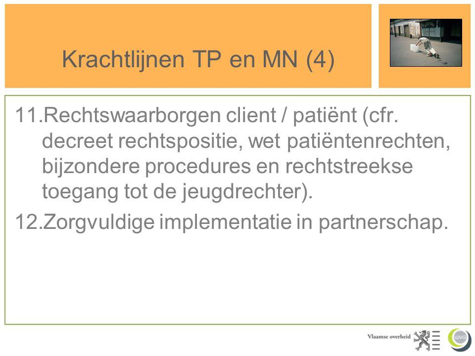 Krachtlijnen TP en MN (4) 11.Rechtswaarborgen client / patiënt (cfr. decreet rechtspositie, wet patiëntenrechten, bijzondere procedures en rechtstreek