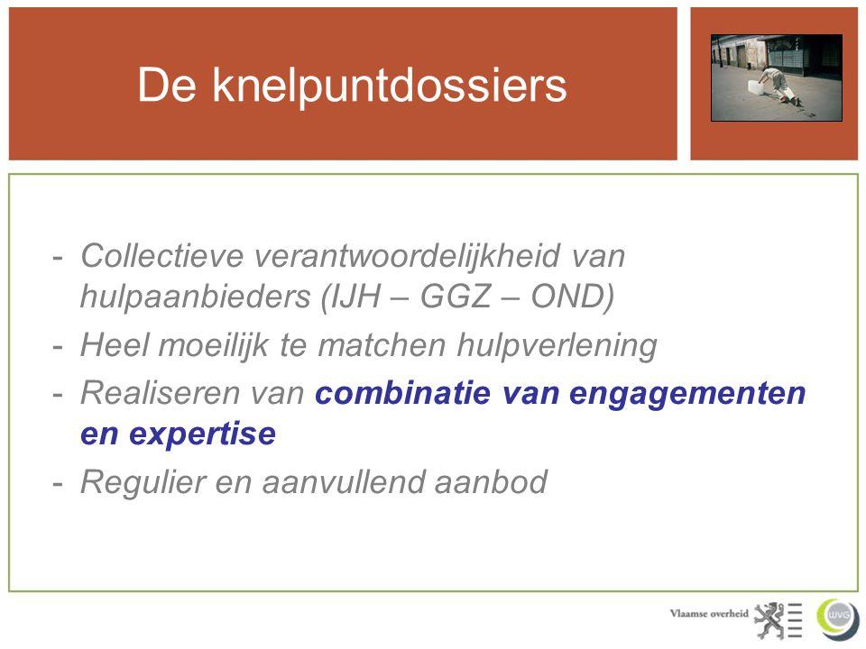 De knelpuntdossiers -Collectieve verantwoordelijkheid van hulpaanbieders (IJH – GGZ – OND) -Heel moeilijk te matchen hulpverlening -Realiseren van com