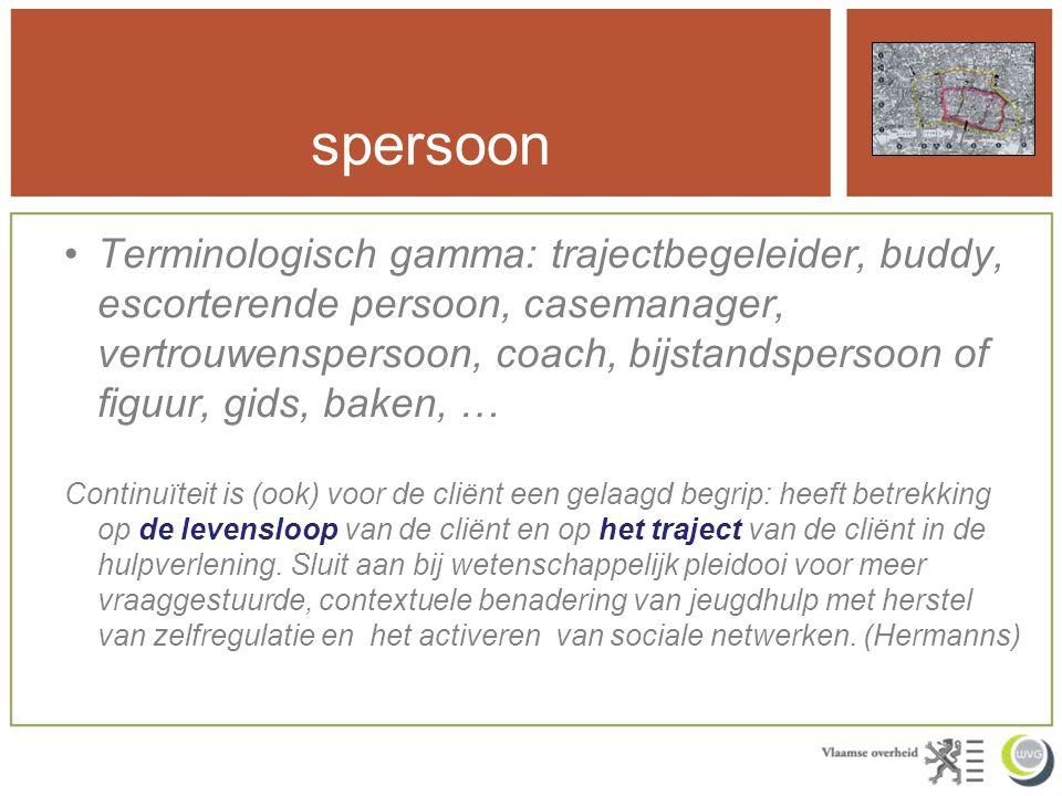 spersoon Terminologisch gamma: trajectbegeleider, buddy, escorterende persoon, casemanager, vertrouwenspersoon, coach, bijstandspersoon of figuur, gid