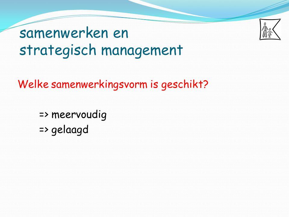 samenwerken en strategisch management Welke samenwerkingsvorm is geschikt? => meervoudig => gelaagd