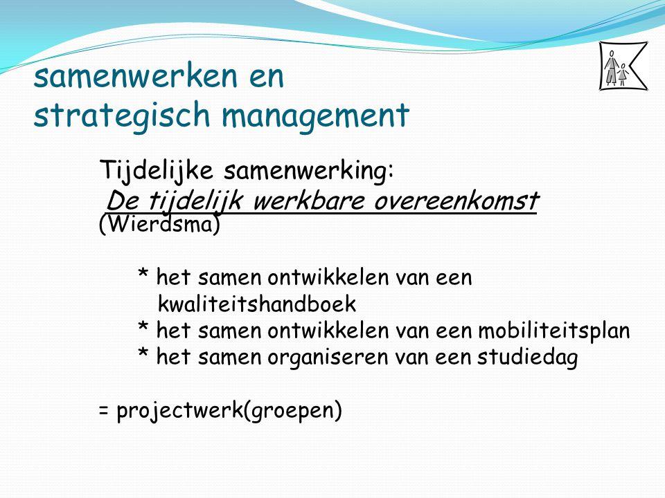 samenwerken en strategisch management Tijdelijke samenwerking: De tijdelijk werkbare overeenkomst (Wierdsma) * het samen ontwikkelen van een kwaliteit
