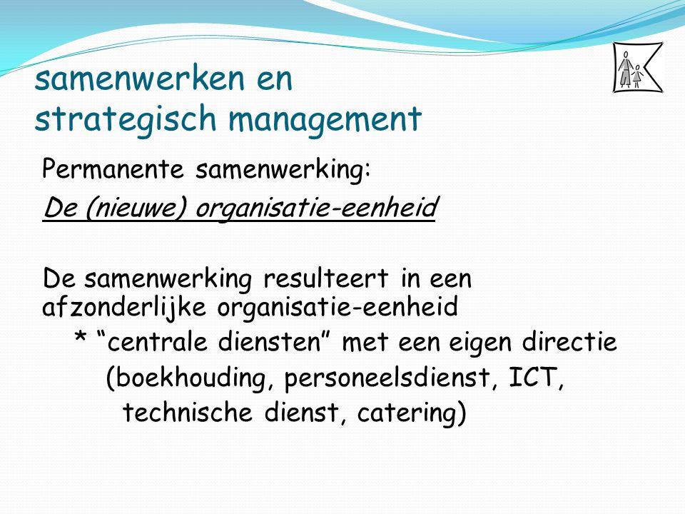 samenwerken en strategisch management Permanente samenwerking: De (nieuwe) organisatie-eenheid De samenwerking resulteert in een afzonderlijke organis