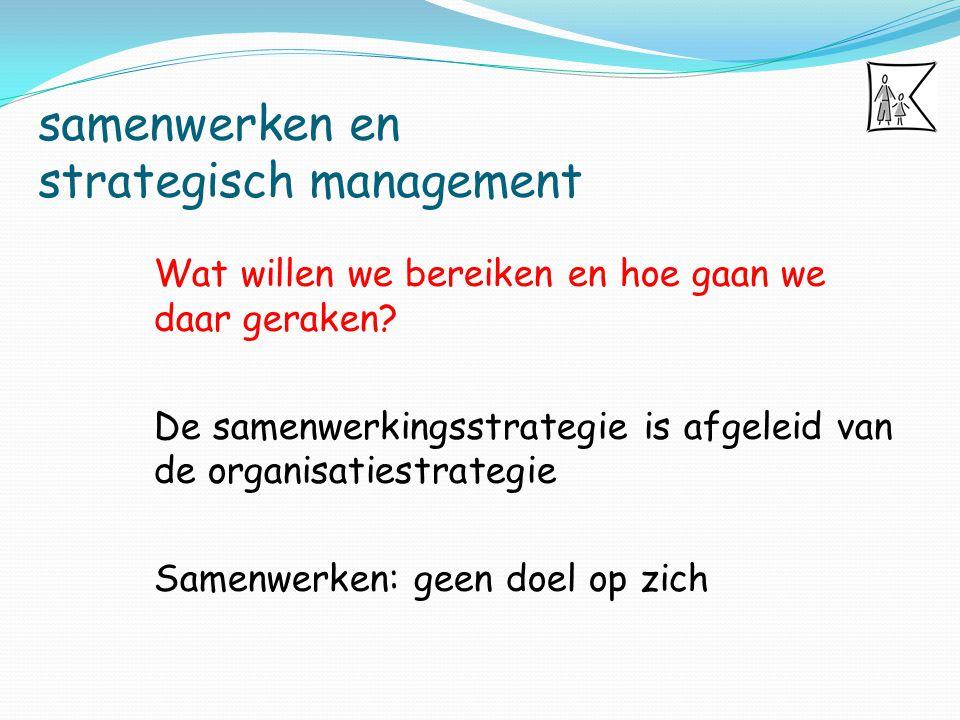samenwerken en strategisch management Wie dient betrokken te worden bij het strategisch management.