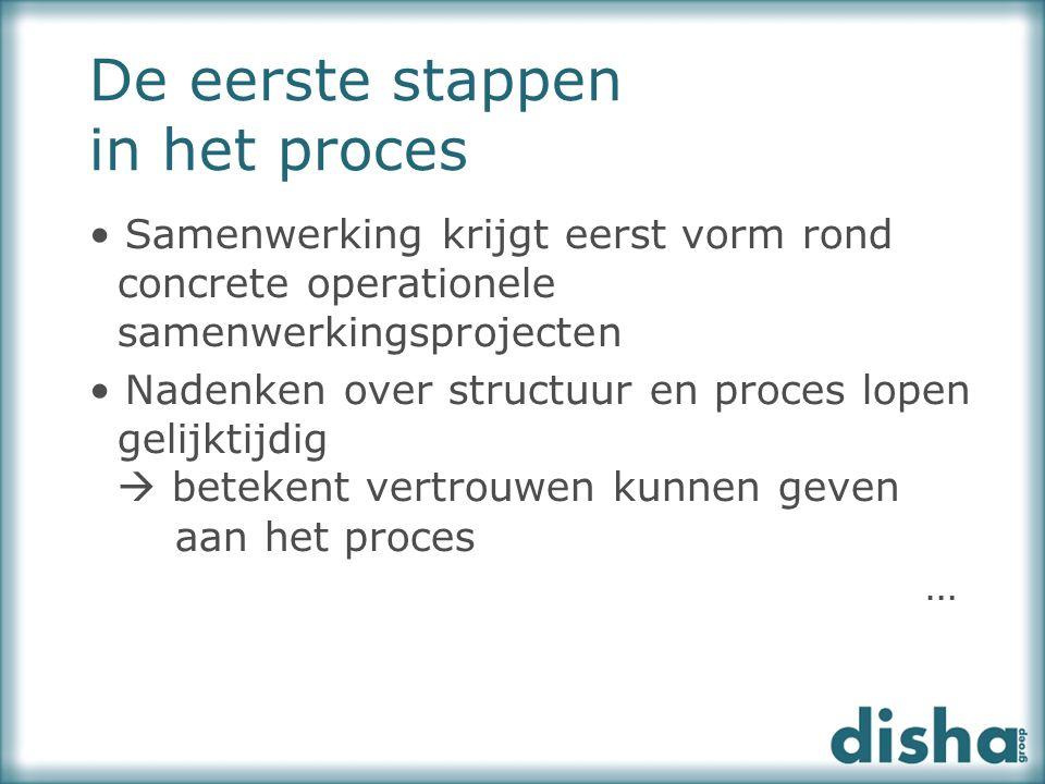 Samenwerking krijgt eerst vorm rond concrete operationele samenwerkingsprojecten Nadenken over structuur en proces lopen gelijktijdig  betekent vertr