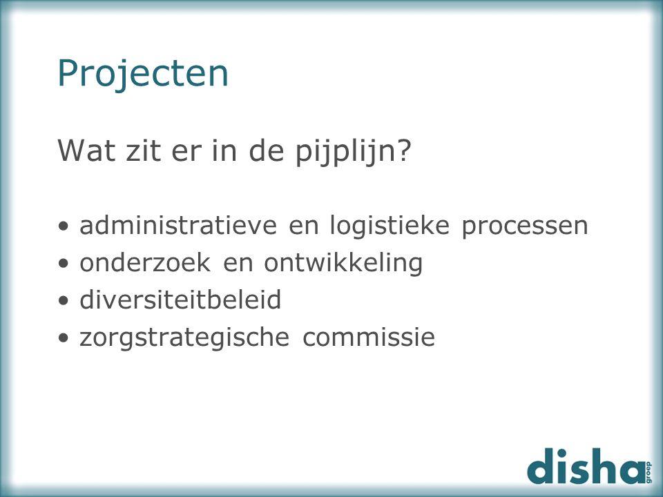 Projecten Wat zit er in de pijplijn? administratieve en logistieke processen onderzoek en ontwikkeling diversiteitbeleid zorgstrategische commissie