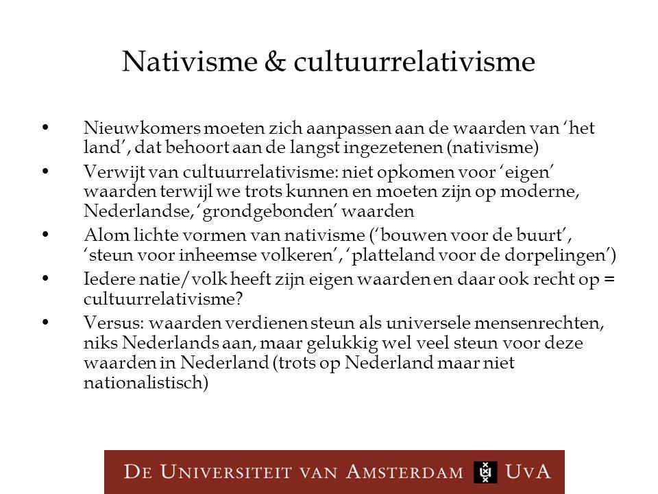 Nativisme & cultuurrelativisme Nieuwkomers moeten zich aanpassen aan de waarden van 'het land', dat behoort aan de langst ingezetenen (nativisme) Verw