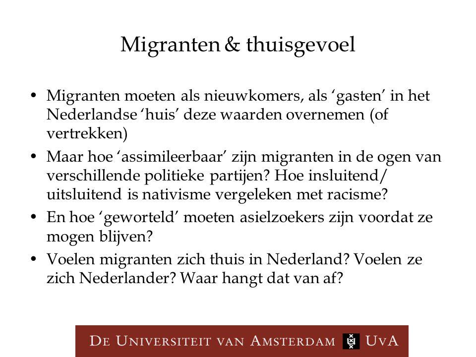 Migranten & thuisgevoel Migranten moeten als nieuwkomers, als 'gasten' in het Nederlandse 'huis' deze waarden overnemen (of vertrekken) Maar hoe 'assi