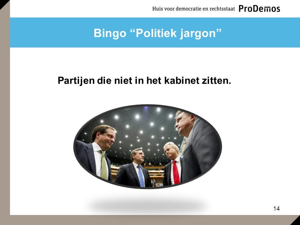 """14 Bingo """"Politiek jargon"""" Partijen die niet in het kabinet zitten."""