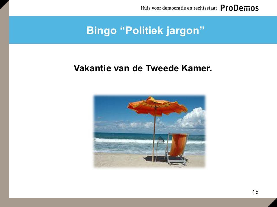 """15 Bingo """"Politiek jargon"""" Vakantie van de Tweede Kamer."""