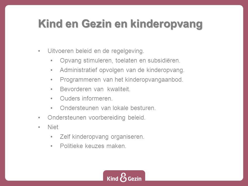 Kind en Gezin en kinderopvang Uitvoeren beleid en de regelgeving.
