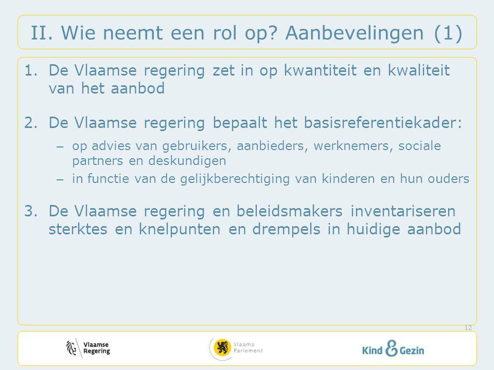 II. Wie neemt een rol op? Aanbevelingen (1) 1.De Vlaamse regering zet in op kwantiteit en kwaliteit van het aanbod 2.De Vlaamse regering bepaalt het b