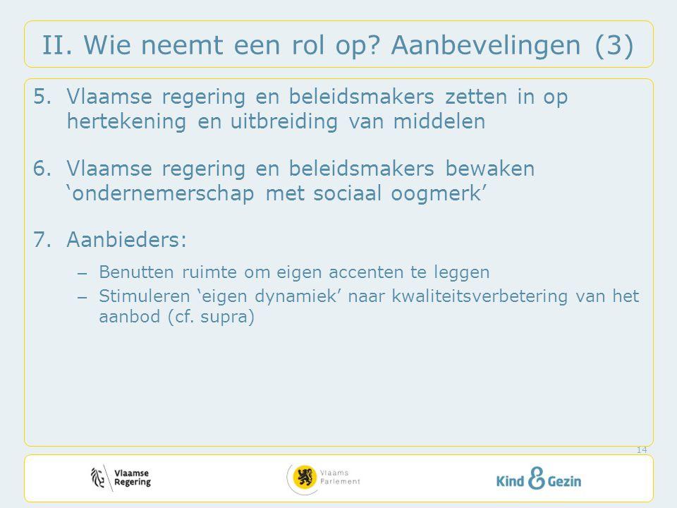 II. Wie neemt een rol op? Aanbevelingen (3) 5.Vlaamse regering en beleidsmakers zetten in op hertekening en uitbreiding van middelen 6.Vlaamse regerin