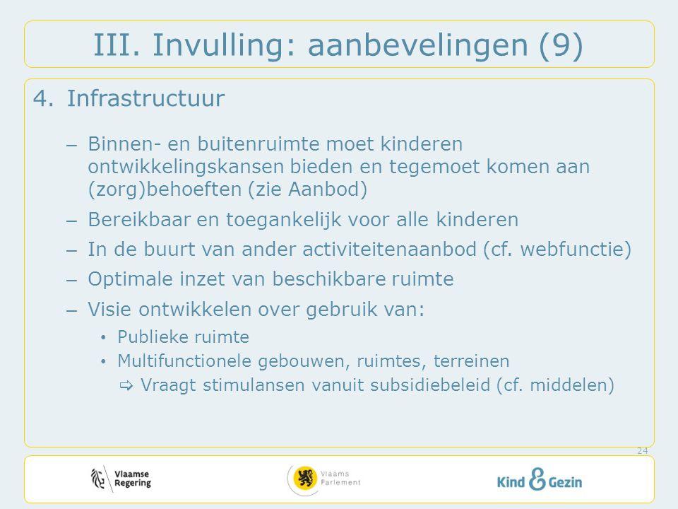 III. Invulling: aanbevelingen (9) 4.Infrastructuur – Binnen- en buitenruimte moet kinderen ontwikkelingskansen bieden en tegemoet komen aan (zorg)beho