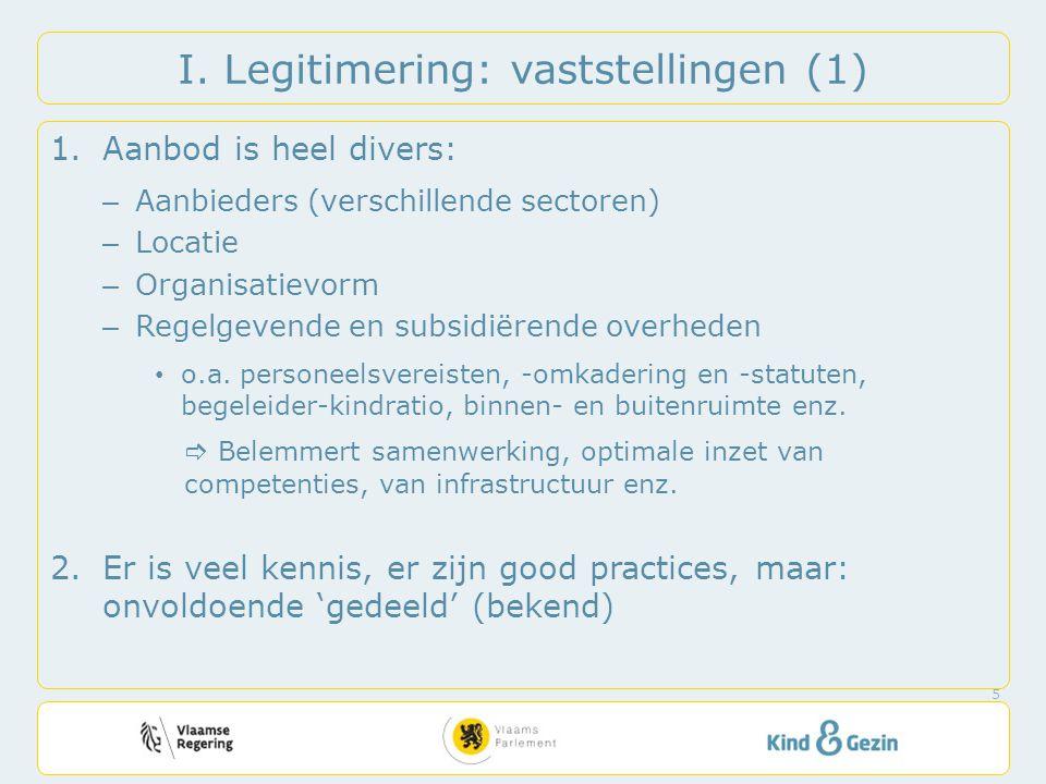 I. Legitimering: vaststellingen (1) 1.Aanbod is heel divers: – Aanbieders (verschillende sectoren) – Locatie – Organisatievorm – Regelgevende en subsi