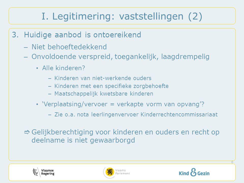 I. Legitimering: vaststellingen (2) 3.Huidige aanbod is ontoereikend – Niet behoeftedekkend – Onvoldoende verspreid, toegankelijk, laagdrempelig Alle