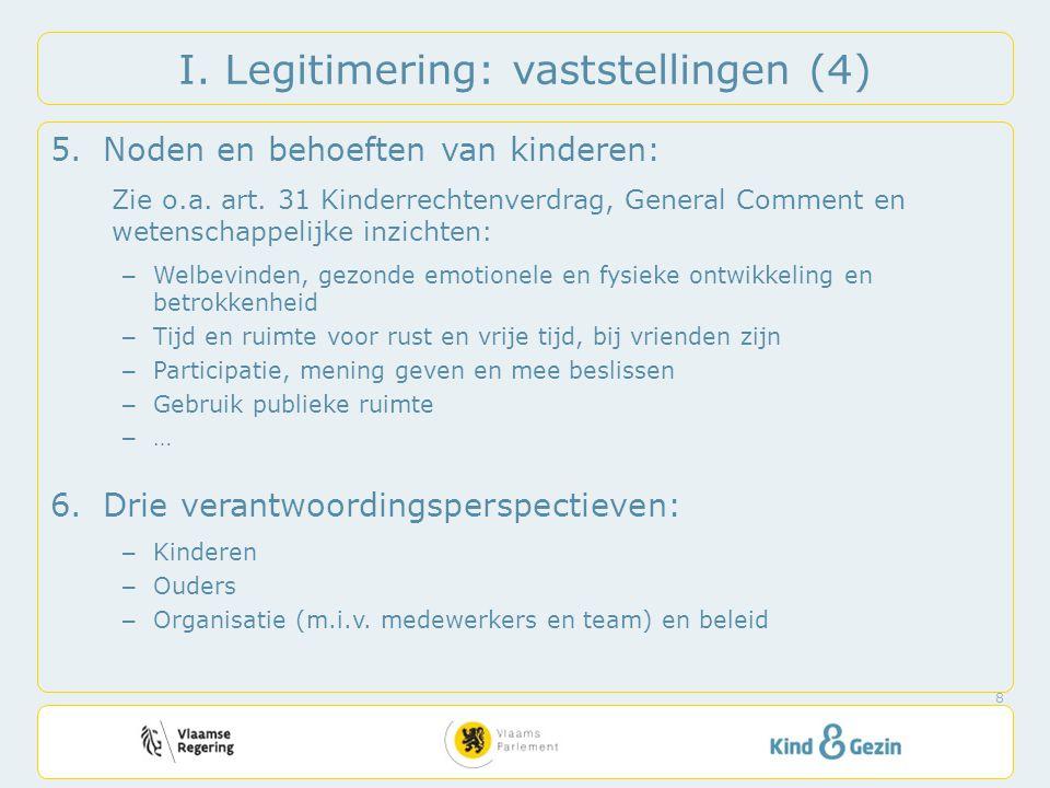 I. Legitimering: vaststellingen (4) 5.Noden en behoeften van kinderen: Zie o.a. art. 31 Kinderrechtenverdrag, General Comment en wetenschappelijke inz