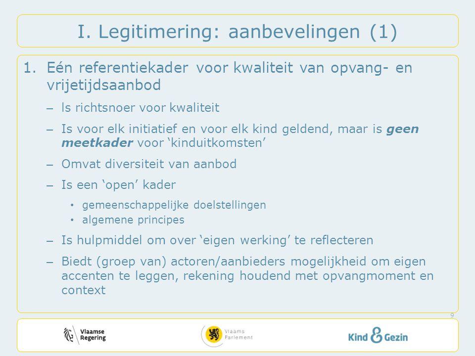 I. Legitimering: aanbevelingen (1) 1.Eén referentiekader voor kwaliteit van opvang- en vrijetijdsaanbod – ls richtsnoer voor kwaliteit – Is voor elk i