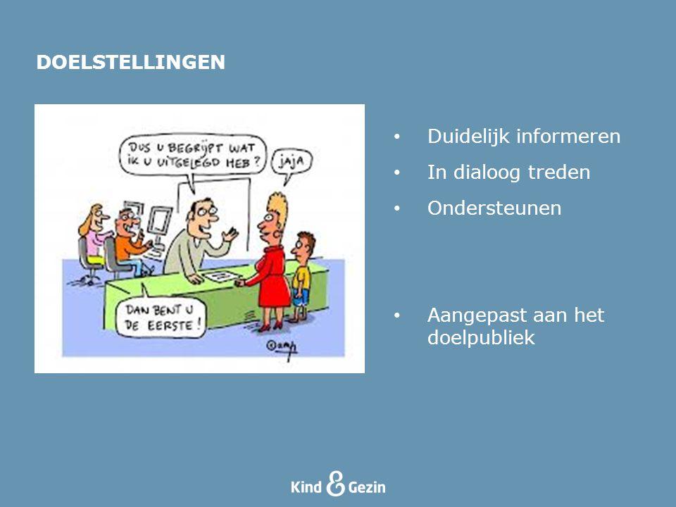 DOELSTELLINGEN Duidelijk informeren In dialoog treden Ondersteunen Aangepast aan het doelpubliek