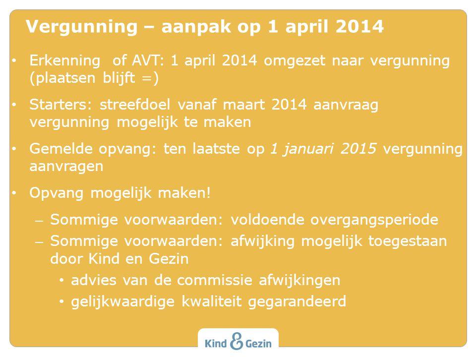 Erkenning of AVT: 1 april 2014 omgezet naar vergunning (plaatsen blijft =) Starters: streefdoel vanaf maart 2014 aanvraag vergunning mogelijk te maken Gemelde opvang: ten laatste op 1 januari 2015 vergunning aanvragen Opvang mogelijk maken.