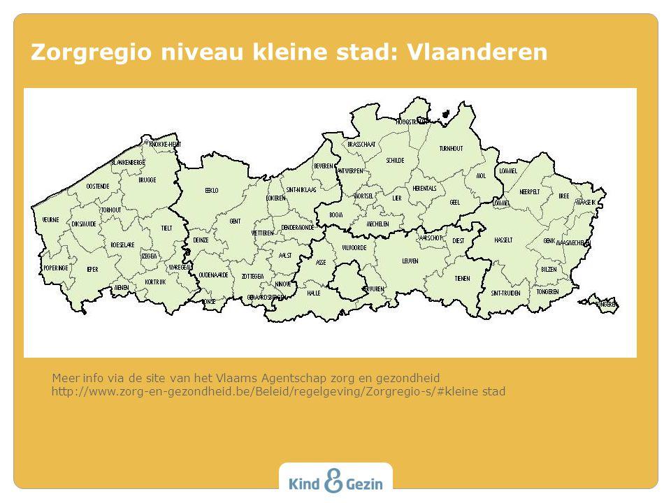 Zorgregio niveau kleine stad: Vlaanderen Meer info via de site van het Vlaams Agentschap zorg en gezondheid http://www.zorg-en-gezondheid.be/Beleid/regelgeving/Zorgregio-s/#kleine stad