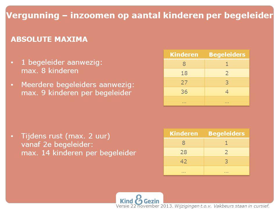 ABSOLUTE MAXIMA 1 begeleider aanwezig: max. 8 kinderen Meerdere begeleiders aanwezig: max. 9 kinderen per begeleider Tijdens rust (max. 2 uur) vanaf 2