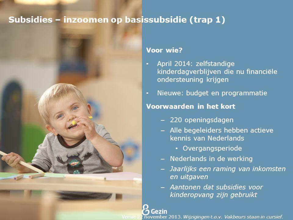Voor wie? April 2014: zelfstandige kinderdagverblijven die nu financiële ondersteuning krijgen Nieuwe: budget en programmatie Voorwaarden in het kort