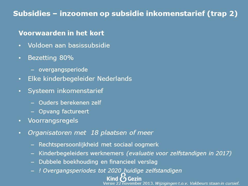 Voorwaarden in het kort Voldoen aan basissubsidie Bezetting 80% – overgangsperiode Elke kinderbegeleider Nederlands Systeem inkomenstarief – Ouders be