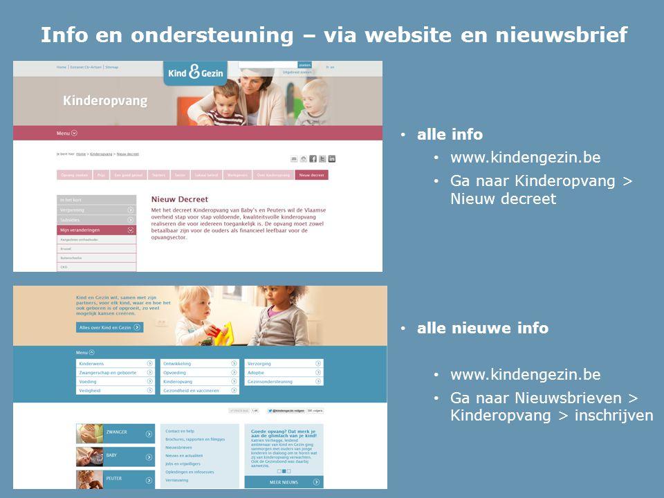 Info en ondersteuning – via website en nieuwsbrief alle info www.kindengezin.be Ga naar Kinderopvang > Nieuw decreet alle nieuwe info www.kindengezin.