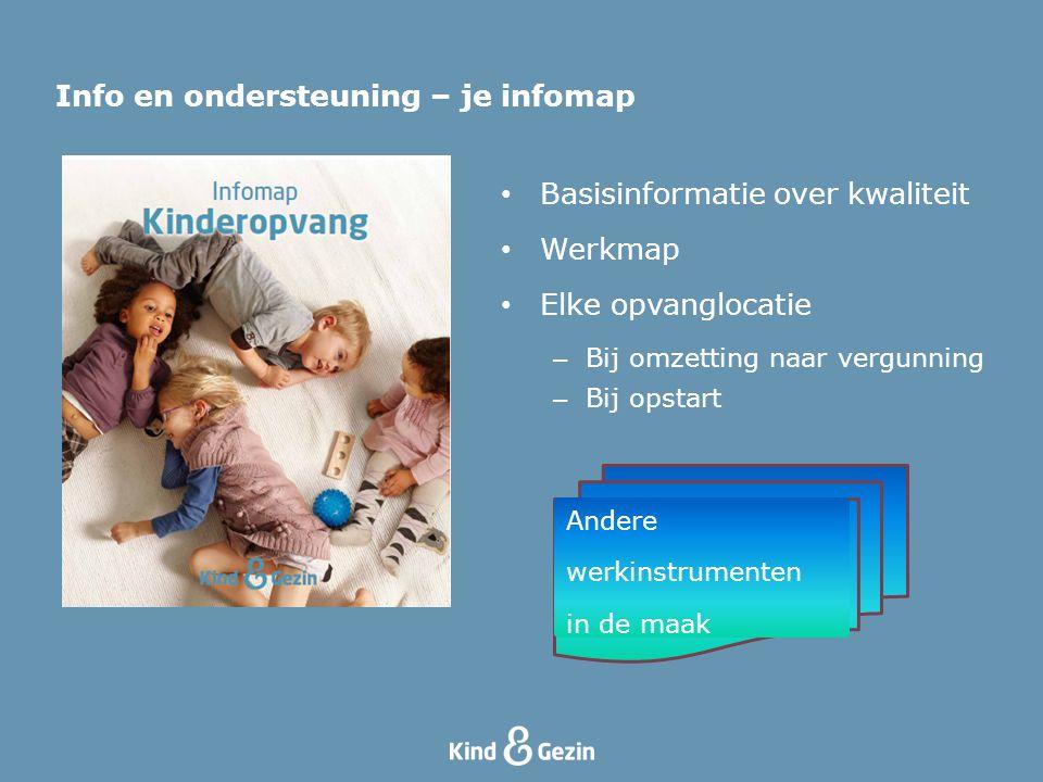 Info en ondersteuning – je infomap Basisinformatie over kwaliteit Werkmap Elke opvanglocatie – Bij omzetting naar vergunning – Bij opstart Andere werk