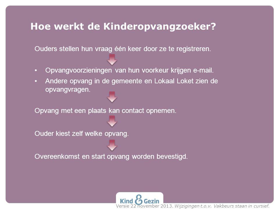 Hoe werkt de Kinderopvangzoeker? Ouders stellen hun vraag één keer door ze te registreren. Opvangvoorzieningen van hun voorkeur krijgen e-mail. Andere