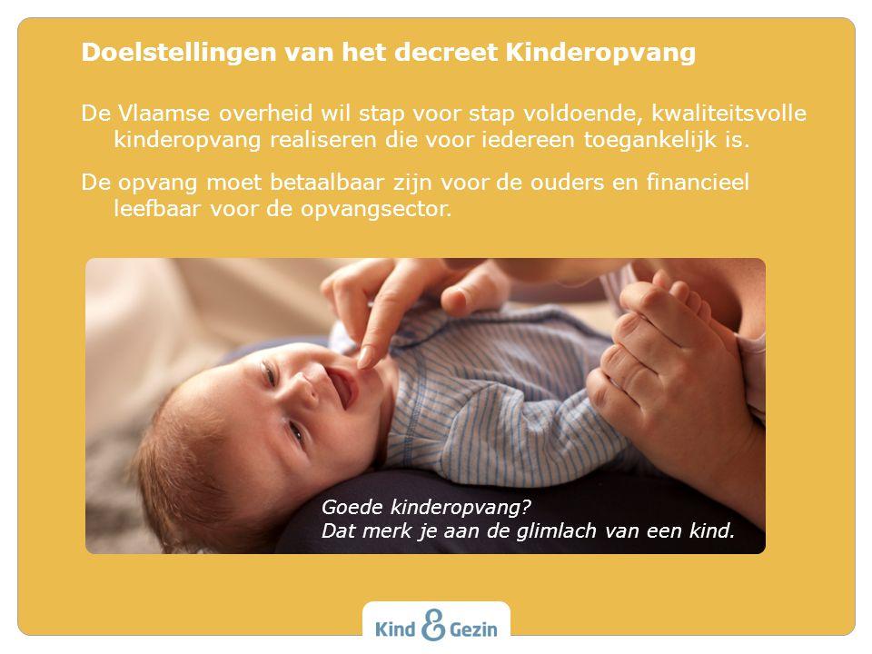 De Vlaamse overheid wil stap voor stap voldoende, kwaliteitsvolle kinderopvang realiseren die voor iedereen toegankelijk is. De opvang moet betaalbaar