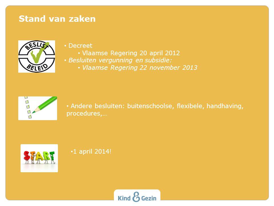 Stand van zaken Decreet Vlaamse Regering 20 april 2012 Besluiten vergunning en subsidie: Vlaamse Regering 22 november 2013 Andere besluiten: buitensch