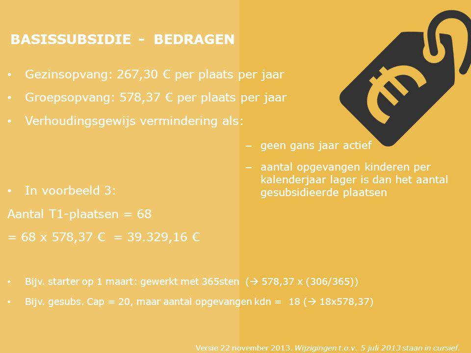 BASISSUBSIDIE - BEDRAGEN Gezinsopvang: 267,30 € per plaats per jaar Groepsopvang: 578,37 € per plaats per jaar Verhoudingsgewijs vermindering als: In voorbeeld 3: Aantal T1-plaatsen = 68 = 68 x 578,37 € = 39.329,16 € Bijv.