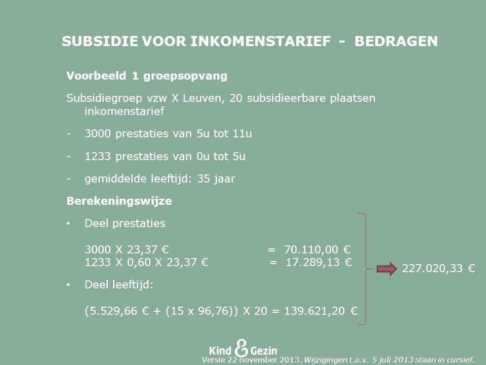 SUBSIDIE VOOR INKOMENSTARIEF - BEDRAGEN Voorbeeld 1 groepsopvang Subsidiegroep vzw X Leuven, 20 subsidieerbare plaatsen inkomenstarief -3000 prestaties van 5u tot 11u -1233 prestaties van 0u tot 5u -gemiddelde leeftijd: 35 jaar Berekeningswijze Deel prestaties 3000 X 23,37 € = 70.110,00 € 1233 X 0,60 X 23,37 € = 17.289,13 € Deel leeftijd: (5.529,66 € + (15 x 96,76)) X 20 = 139.621,20 € 227.020,33 € Versie 22 november 2013.