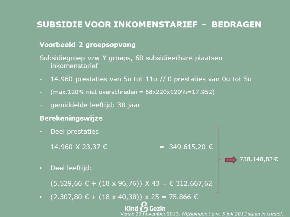 SUBSIDIE VOOR INKOMENSTARIEF - BEDRAGEN Voorbeeld 2 groepsopvang Subsidiegroep vzw Y groeps, 68 subsidieerbare plaatsen inkomenstarief -14.960 prestaties van 5u tot 11u // 0 prestaties van 0u tot 5u -(max.120% niet overschreden = 68x220x120%=17.952) -gemiddelde leeftijd: 38 jaar Berekeningswijze Deel prestaties 14.960 X 23,37 € = 349.615,20 € Deel leeftijd: (5.529,66 € + (18 x 96,76)) X 43 = € 312.667,62 (2.307,80 € + (18 x 40,38)) x 25 = 75.866 € 738.148,82 € Versie 22 november 2013.