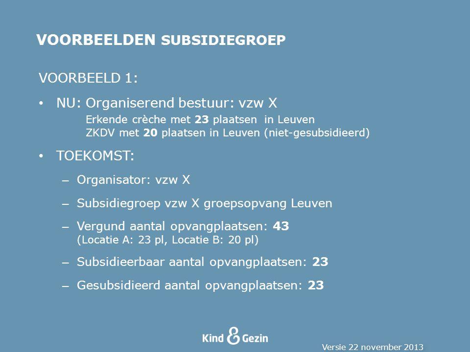 VOORBEELDEN SUBSIDIEGROEP VOORBEELD 1: NU:Organiserend bestuur: vzw X Erkende crèche met 23 plaatsen in Leuven ZKDV met 20 plaatsen in Leuven (niet-gesubsidieerd) TOEKOMST: – Organisator: vzw X – Subsidiegroep vzw X groepsopvang Leuven – Vergund aantal opvangplaatsen: 43 (Locatie A: 23 pl, Locatie B: 20 pl) – Subsidieerbaar aantal opvangplaatsen: 23 – Gesubsidieerd aantal opvangplaatsen: 23 Versie 22 november 2013
