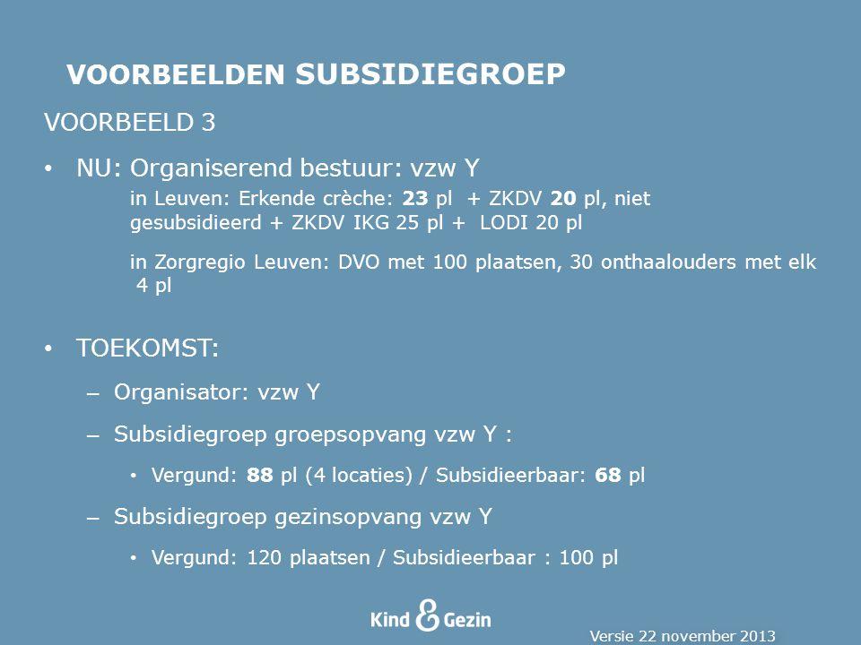 VOORBEELD 3 NU:Organiserend bestuur: vzw Y in Leuven: Erkende crèche: 23 pl + ZKDV 20 pl, niet gesubsidieerd + ZKDV IKG 25 pl + LODI 20 pl in Zorgregio Leuven: DVO met 100 plaatsen, 30 onthaalouders met elk 4 pl TOEKOMST: – Organisator: vzw Y – Subsidiegroep groepsopvang vzw Y : Vergund: 88 pl (4 locaties) / Subsidieerbaar: 68 pl – Subsidiegroep gezinsopvang vzw Y Vergund: 120 plaatsen / Subsidieerbaar : 100 pl VOORBEELDEN SUBSIDIEGROEP Versie 22 november 2013