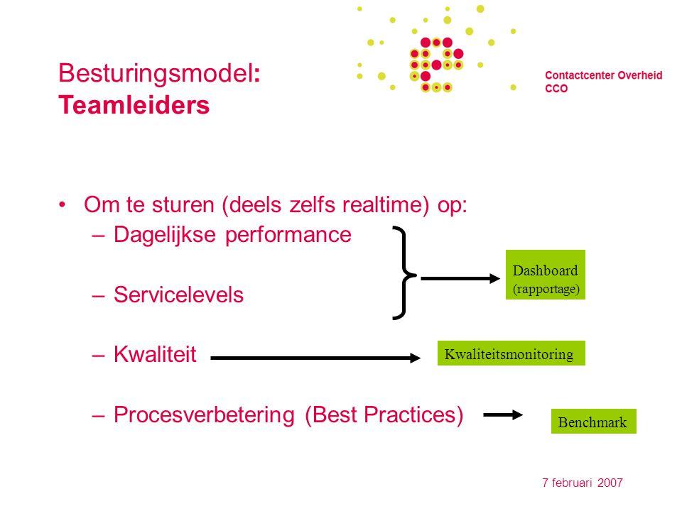 7 februari 2007 Besturingsmodel: Management Controle (periodiek) op prestaties Sturing Verantwoording: Doen we het goed.