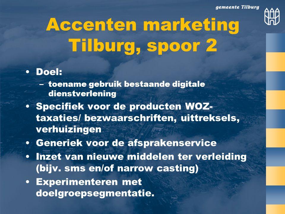 Accenten marketing Tilburg, spoor 2 Doel: –toename gebruik bestaande digitale dienstverlening Specifiek voor de producten WOZ- taxaties/ bezwaarschriften, uittreksels, verhuizingen Generiek voor de afsprakenservice Inzet van nieuwe middelen ter verleiding (bijv.