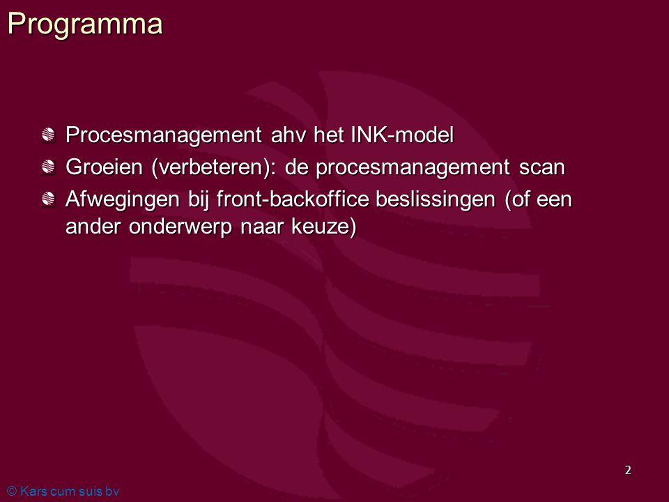 © Kars cum suis bv 2Programma Procesmanagement ahv het INK-model Groeien (verbeteren): de procesmanagement scan Afwegingen bij front-backoffice beslis