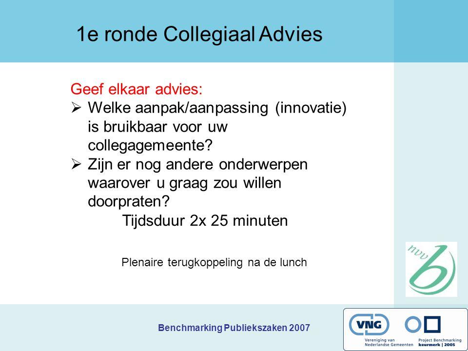 Benchmarking Publiekszaken 2007 Geef elkaar advies:  Welke aanpak/aanpassing (innovatie) is bruikbaar voor uw collegagemeente?  Zijn er nog andere o